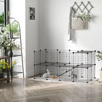 PawHut Metal Mesh Small Animal Playpen w/ Mallet Connectors & Cable Ties 36 pcs