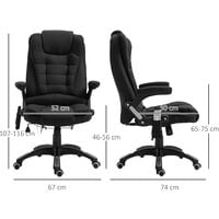 Vinsetto 7 Point Heated Massage Chair 130° Recline Linen Swivel Base Black