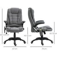 Vinsetto 7 Point Heated Massage Chair 130° Recline Linen Swivel Base Grey
