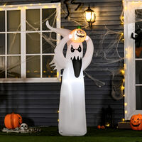 HOMCOM Inflatable Fun LED Light Up Halloween Ghost Pumpkin Outdoor Decoration w/ Fan 8FT