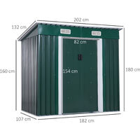Outsunny 4 x 6 ft Metal Garden Shed Tool Storage w/ Foundation 195L x 122D x 180H (cm)
