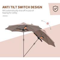 Outsunny Electric Umbrella Parasol Mounted Infrared Heater 1500W Patio Gazebo Outdoor Use