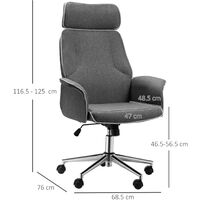 Vinsetto High Back Office Chair w/ Wheels Linen Upholstery 5 Wheels Grey