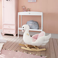 HOMCOM Ride On Cute Rocking Swan Soft Seat with High Back Sound White