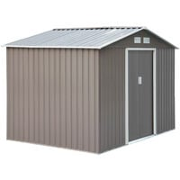 Outsunny Galvanised Metal Shed Garden Outdoor Storage Unit w/ 2 Doors Grey 9x6FT