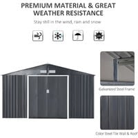 OutsunnyGalvanised Metal Shed Garden Outdoor Storage Unit w/ 2 Doors Grey 6.5x11FT
