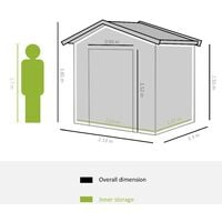 Outsunny Steel Garden Shed Storage Unit w/ Locking Door Air Vents 185x127cm