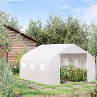 Outsunny Walk-in Tunnel Greenhouse Gardening Planting Shed w/ Door 6.5x10FT