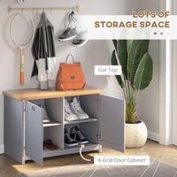 HOMCOM Rustic Style Shoe Cabinet Organisation w/ 4 Storage Units Hallway Grey