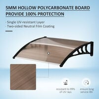 Outsunny Curved Outdoor Canopy Window Door Aluminium Plastic PC Panel 0.8 x 1m Brown