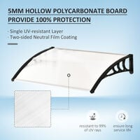 Outsunny Curved Outdoor Canopy Window Door Aluminium Plastic PC Panel 0.8 x 1m Clear