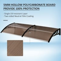 Outsunny Curved Outdoor Canopy Window Door Aluminium Plastic PC Panel 0.8 x 2m Brown
