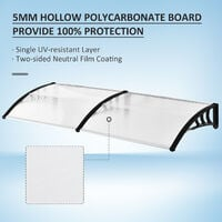 Outsunny Curved Outdoor Canopy Window Door Aluminium Plastic PC Panel 0.8 x 2m Clear