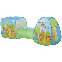 HOMCOM Pop-Up Play Tunnel House 3-in-1 Foldable Colourful Animals Fun Activity