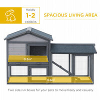 PawHut 2-Level Wood Rabbit House Hutch w/ Outdoor Run UV Water Resistant Roof Grey White