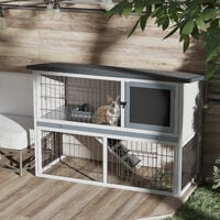 PawHut 2-Level Small Rabbit Hutch w/ House Outdoor Run Ramp Grey Black