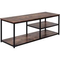 HOMCOM Industrial Style TV Stand w/ 3 Shelves Metal Frame Antique Brown Black