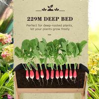 Outsunny Trough Design Wooden Flower Plant w/ Liner Bag Drainage Hole 80x100cm