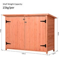 Outsunny Wooden Garden Shed w/ Slatted Shelves Locking Doors 90x128cm