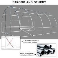 Outsunny Portable Plastic Greenhouse Walk In w/ Steel Frame Door 200x400cm