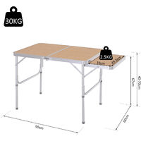 Outsunny Portable Expanding Aluminium Picnic Table BBQ Picnic Outdoor 90x70cm