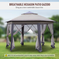 Outsunny Metal Hexagon Gazebo Outdoor Garden Double Roof w/ Netting 4x4M