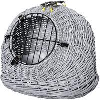 PawHut Natural Wicker Cat Basket w/ Fleece Cushion Mat Handle 2 Handles Grey