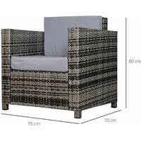 Outsunny Rattan Armchair w/ Padded Cushion Outdoor Garden Seat Wicker Grey