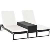 Outsunny Double Lounger Table Set All-In-One Rattan Wicker Adjustable Black Cream