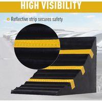 HOMCOM Set Of 2 Rubber Wheel Chocks Car Vehicle w/ Handle Reflect Strip Black