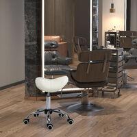 HOMCOM Faux Leather Saddle Stool Height Adjustable 5 Wheels Salon Seat Beige