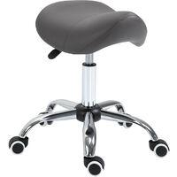 HOMCOM Faux Leather Saddle Stool Height Adjustable 5 Wheels Salon Seat Grey