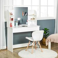 HOMCOM Dressing Table w/ Drawer Mirror 6 Shelves Vanity Makeup Spot White