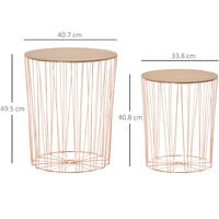 HOMCOM Round Side Table Sophisticated Style w/ Metal Base MDF Top Rose Gold Tone