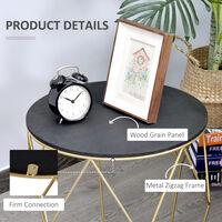 HOMCOM Drum Shape Side Table Metal Frame Elegant Beautiful Black Gold Tone