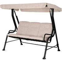 Outsunny 3-Seater Garden Swing Chair Metal Frame Canopy Tufted Back Beige