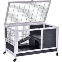 PawHut Wood Indoor Rabbit Hutch w/ House Play Area Metal Fence w/ Wheels