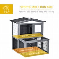 PawHut Luxurious 2-Level Rabbit Hutch w/ House Outdoor Run Opening Roof