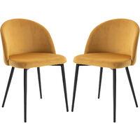 HOMCOM Set of 2 Velvet Look Bucket Chairs Modern Dining Seats Metal Legs Camel