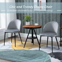 HOMCOM Set of 2 Velvet Look Bucket Chairs Modern Dining Seats Metal Legs Grey