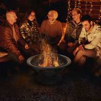 Outsunny 76cm Steel Fire Pit Outdoor Warmth w/ Poker Lid Spark Screen Log Gate