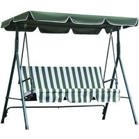 Outsunny 3-Seater Garden Swing Chair Steel Frame Canopy Padded Striped Green