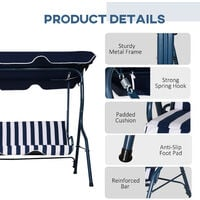Outsunny 3-Person Outdoor Swing Chair Steel Frame Padded Patio Seat Stripes Blue