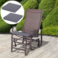Outsunny 2 PIECES Patio Chairs Dinning Chairs 5cm Thickened Sofa Cushion Mat Grey