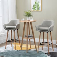 HOMCOM Set Of 2 Linen Bar Chairs Tub Style w/ Wooden Legs Padded Seat Beige