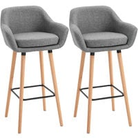 HOMCOM Set Of 2 Linen Bar Chairs Tub Style w/ Wooden Legs Padded Seat Grey
