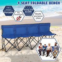 Outsunny 4-Seater Chair Bench w/ Cooler Bag Metal Frame Carry Case Camping Blue