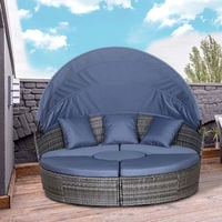 Outsunny 5 Pcs Large Sun Bed PE Rattan Frame w/ Cushions Overhead Canopy Grey