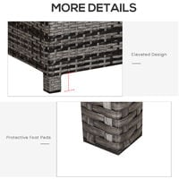 Outsunny Rectabgle PE Rattan Garden Coffee Table w/ Glass Top Steel Frame