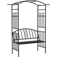 Outsunny Garden Metal Arch Bench 2-Seater Outdoor Trellis Arbour Elegant Black